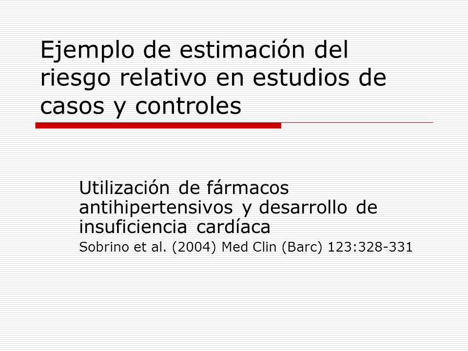 Ejemplo de estimación del riesgo relativo en estudios de casos y controles Utilización de fármacos antihipertensivos y desarrollo de insuficiencia car