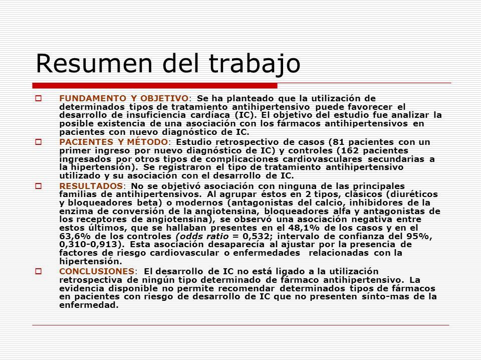 Resumen del trabajo FUNDAMENTO Y OBJETIVO: Se ha planteado que la utilización de determinados tipos de tratamiento antihipertensivo puede favorecer el