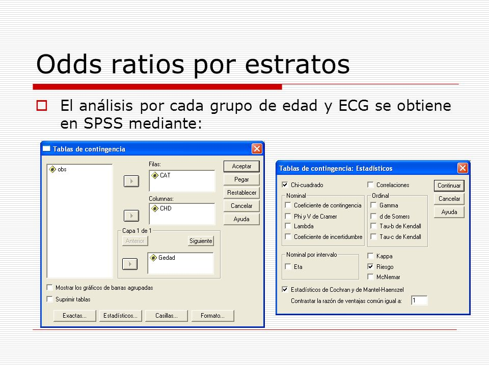 Odds ratios por estratos El análisis por cada grupo de edad y ECG se obtiene en SPSS mediante:
