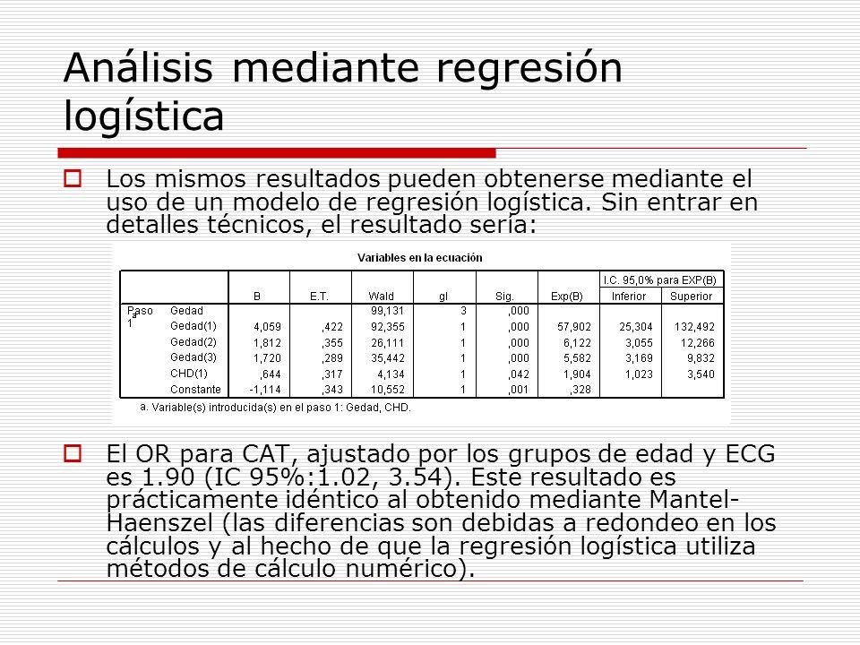 Análisis mediante regresión logística Los mismos resultados pueden obtenerse mediante el uso de un modelo de regresión logística. Sin entrar en detall
