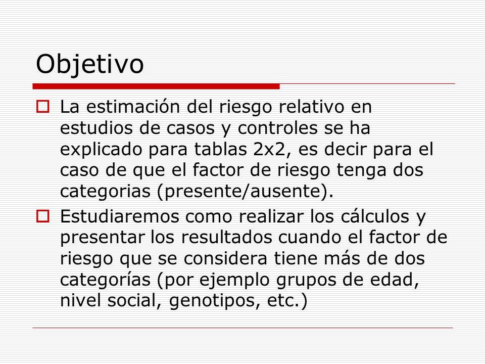 Objetivo La estimación del riesgo relativo en estudios de casos y controles se ha explicado para tablas 2x2, es decir para el caso de que el factor de