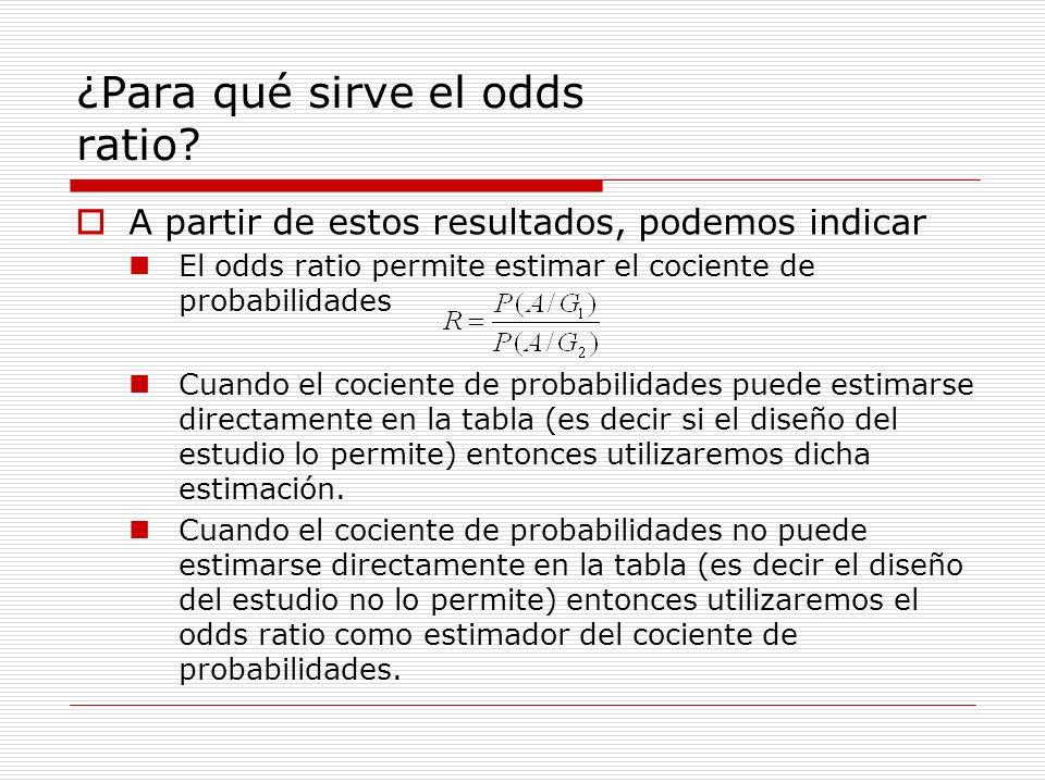 ¿Para qué sirve el odds ratio? A partir de estos resultados, podemos indicar El odds ratio permite estimar el cociente de probabilidades Cuando el coc