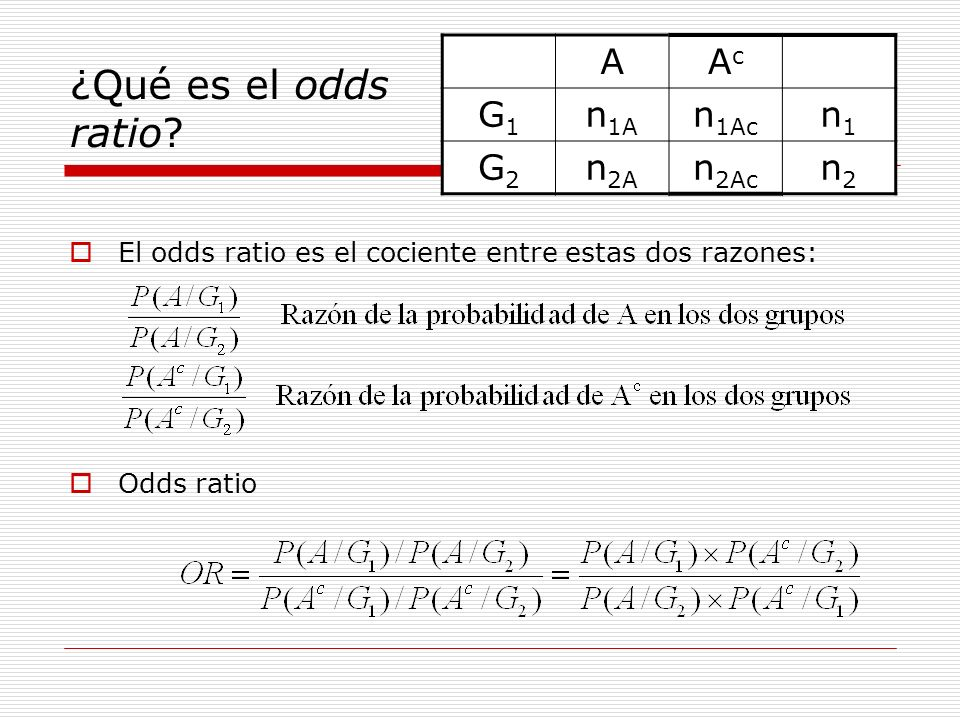Estimación puntual ¿Cómo se calcula el odds ratio en una tabla.