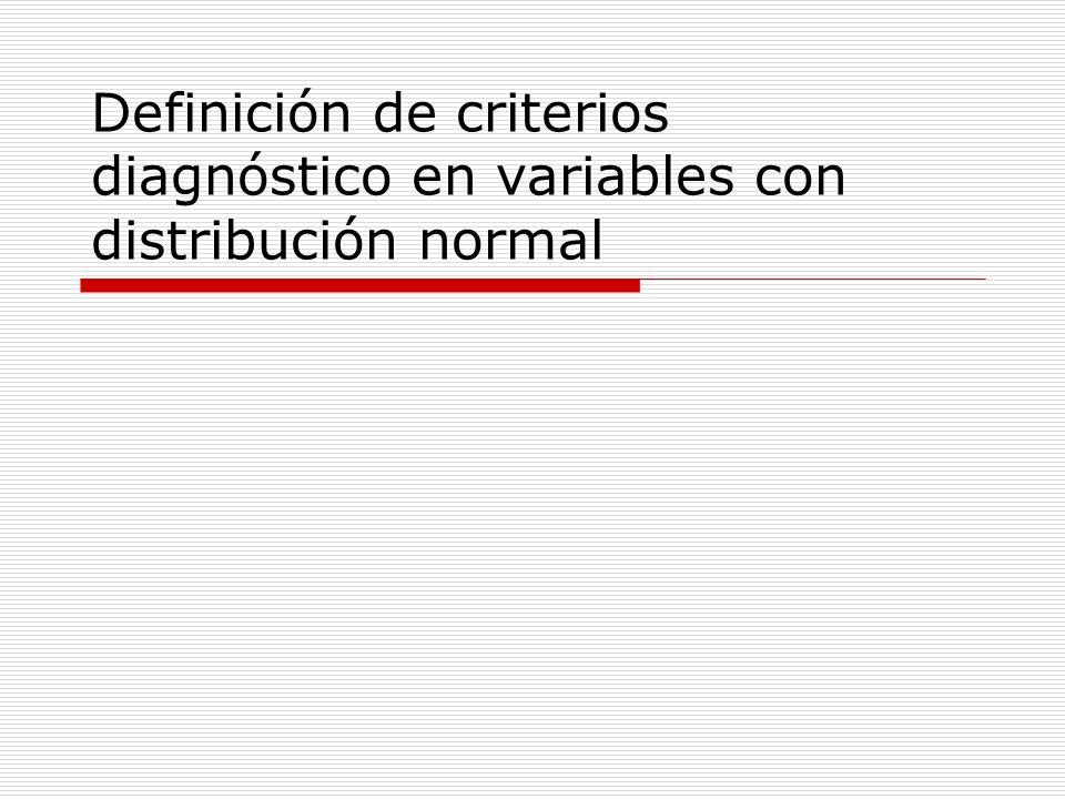 Objetivo El conocimiento de la distribución de una determinada variable en la población de personas sanas y en la población de personas afectadas por una determinada enfermedad permite plantearse la posibilidad de utilizar los valores de dicha variable como criterio diagnóstico.