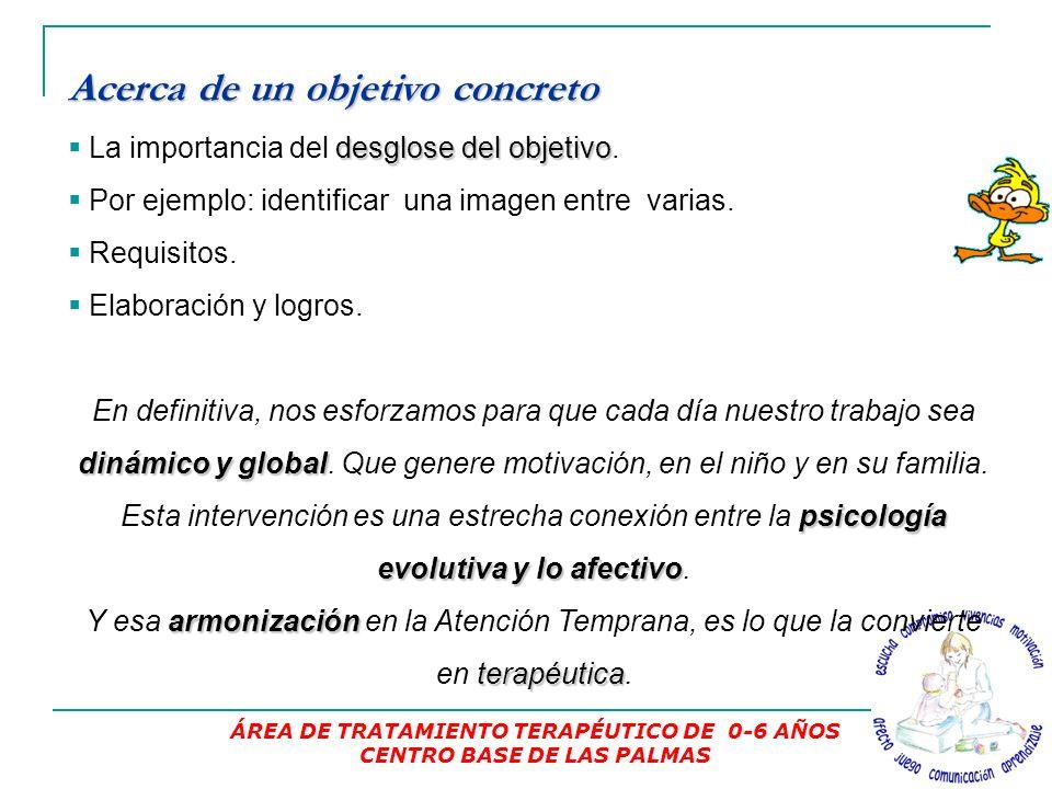 ÁREA DE TRATAMIENTO TERAPÉUTICO DE 0-6 AÑOS CENTRO BASE DE LAS PALMAS Acerca de un objetivo concreto La importancia del d dd desglose del objetivo.