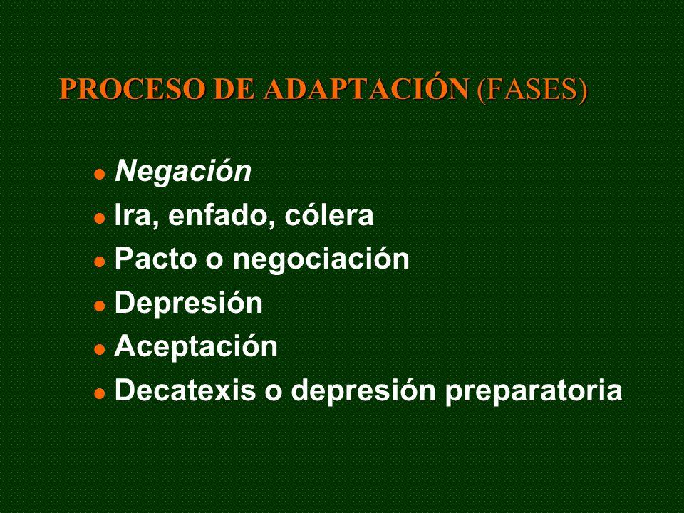 PROCESO DE ADAPTACIÓN (FASES) Negación Ira, enfado, cólera Pacto o negociación Depresión Aceptación Decatexis o depresión preparatoria