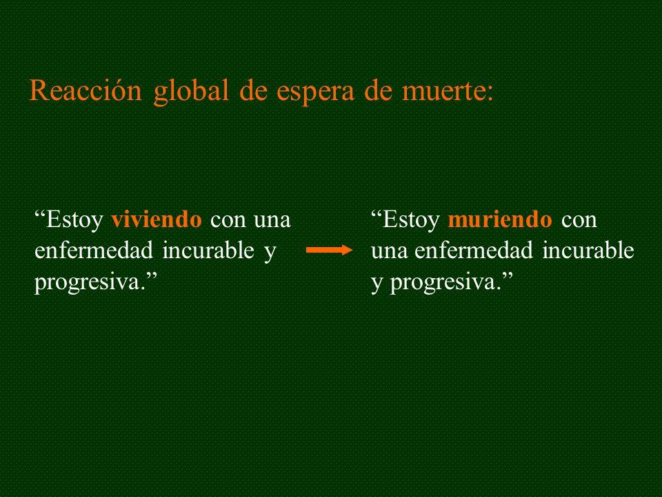 Reacción global de espera de muerte: Estoy viviendo con una enfermedad incurable y progresiva. Estoy muriendo con una enfermedad incurable y progresiv