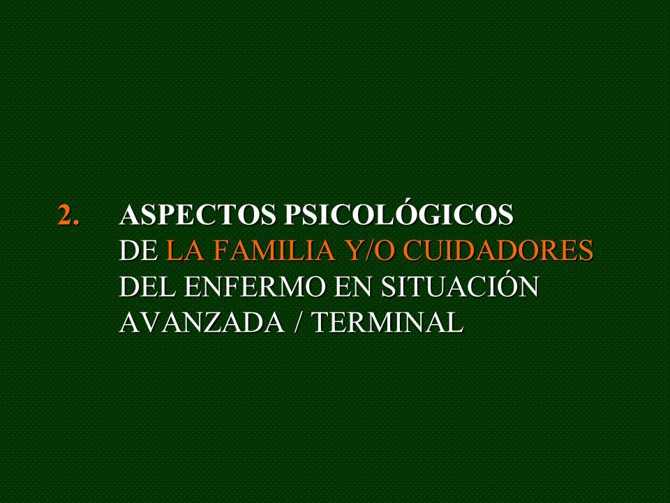 2.ASPECTOS PSICOLÓGICOS DE LA FAMILIA Y/O CUIDADORES DEL ENFERMO EN SITUACIÓN AVANZADA / TERMINAL