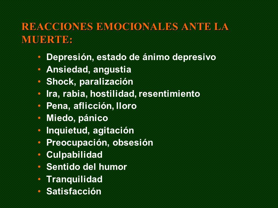 REACCIONES EMOCIONALES ANTE LA MUERTE: Depresión, estado de ánimo depresivo Ansiedad, angustia Shock, paralización Ira, rabia, hostilidad, resentimien