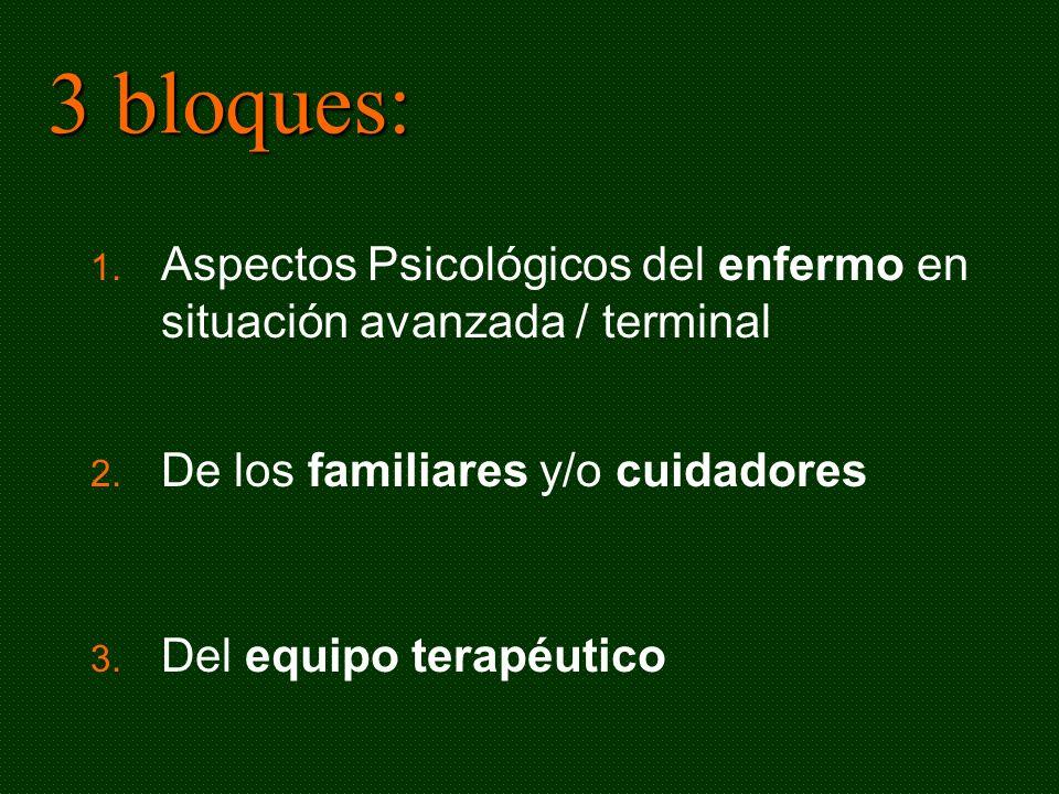 3 bloques: 1. Aspectos Psicológicos del enfermo en situación avanzada / terminal 2. De los familiares y/o cuidadores 3. Del equipo terapéutico