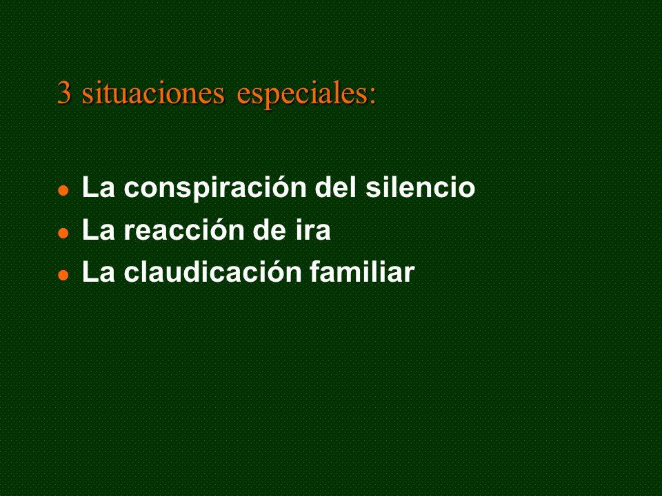 3 situaciones especiales: La conspiración del silencio La reacción de ira La claudicación familiar