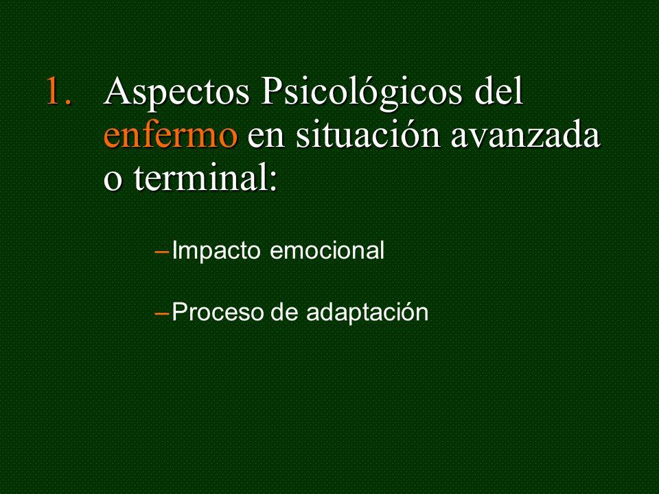 1.Aspectos Psicológicos del enfermo en situación avanzada o terminal: –Impacto emocional –Proceso de adaptación