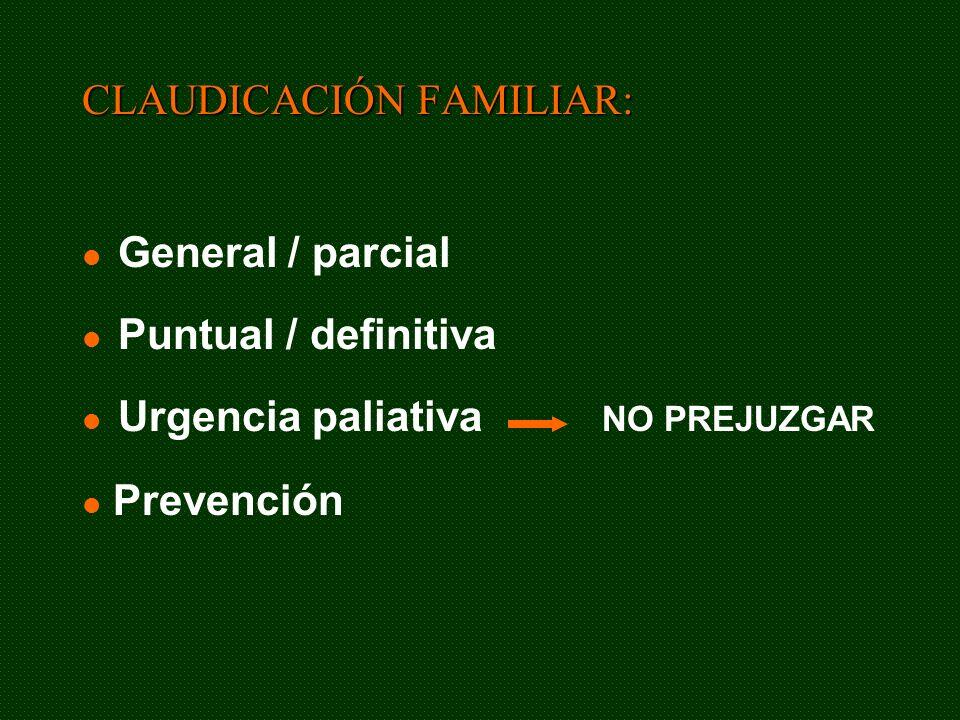 General / parcial Puntual / definitiva Urgencia paliativa CLAUDICACIÓN FAMILIAR: NO PREJUZGAR Prevención
