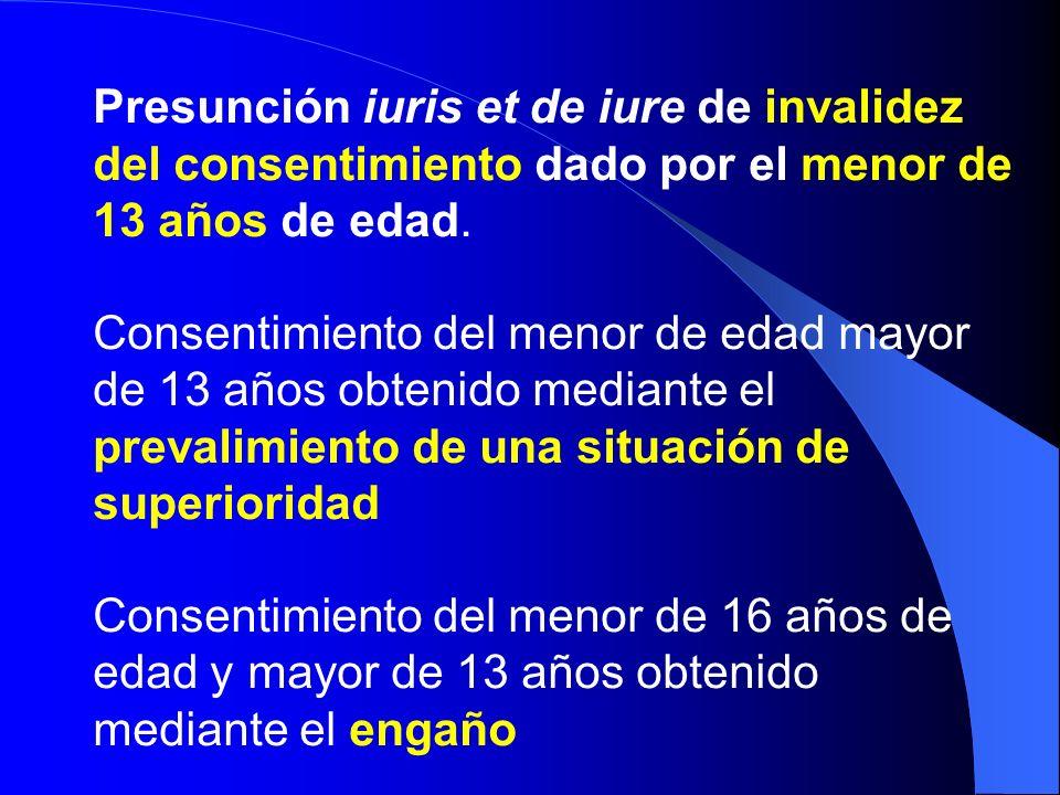Presunción iuris et de iure de invalidez del consentimiento dado por el menor de 13 años de edad. Consentimiento del menor de edad mayor de 13 años ob