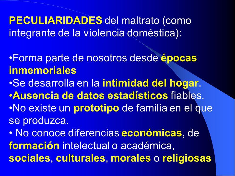 PECULIARIDADES del maltrato (como integrante de la violencia doméstica): Forma parte de nosotros desde épocas inmemoriales Se desarrolla en la intimid