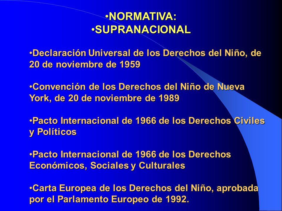 NORMATIVA:NORMATIVA: SUPRANACIONALSUPRANACIONAL Declaración Universal de los Derechos del Niño, de 20 de noviembre de 1959Declaración Universal de los