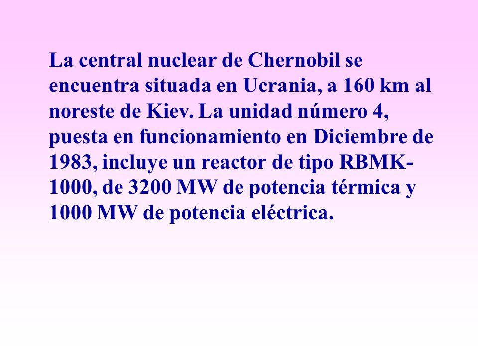 La central nuclear de Chernobil se encuentra situada en Ucrania, a 160 km al noreste de Kiev. La unidad número 4, puesta en funcionamiento en Diciembr