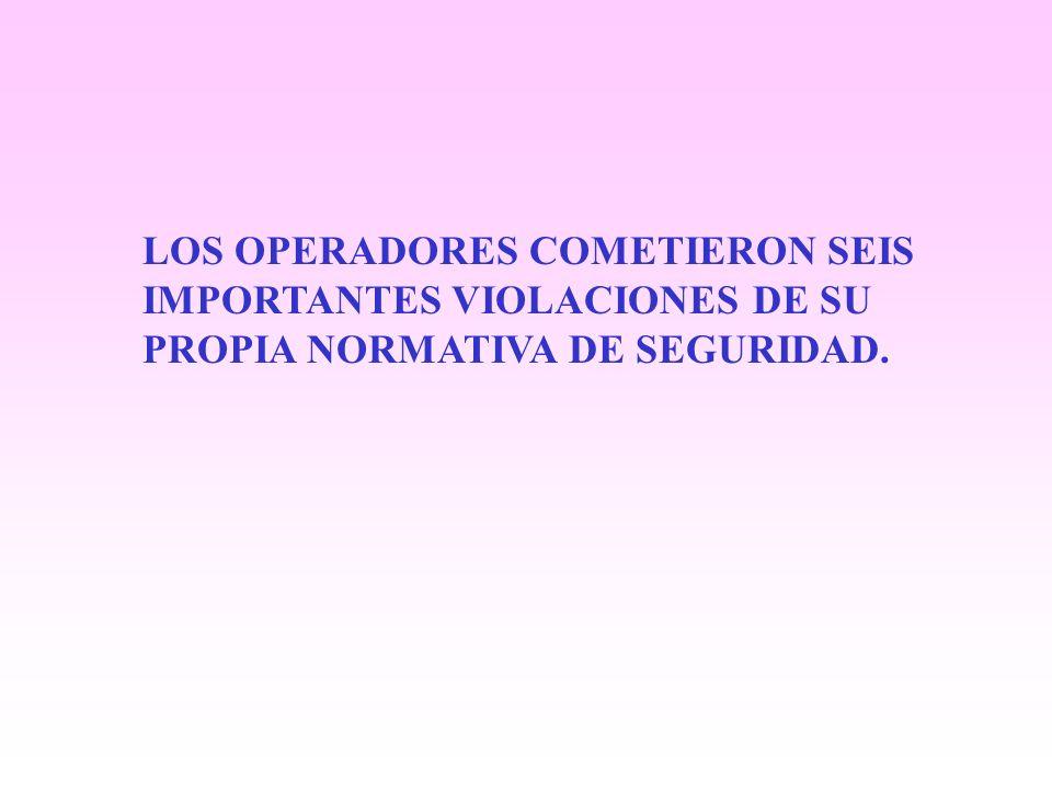 LOS OPERADORES COMETIERON SEIS IMPORTANTES VIOLACIONES DE SU PROPIA NORMATIVA DE SEGURIDAD.