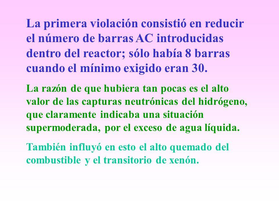 La primera violación consistió en reducir el número de barras AC introducidas dentro del reactor; sólo había 8 barras cuando el mínimo exigido eran 30.