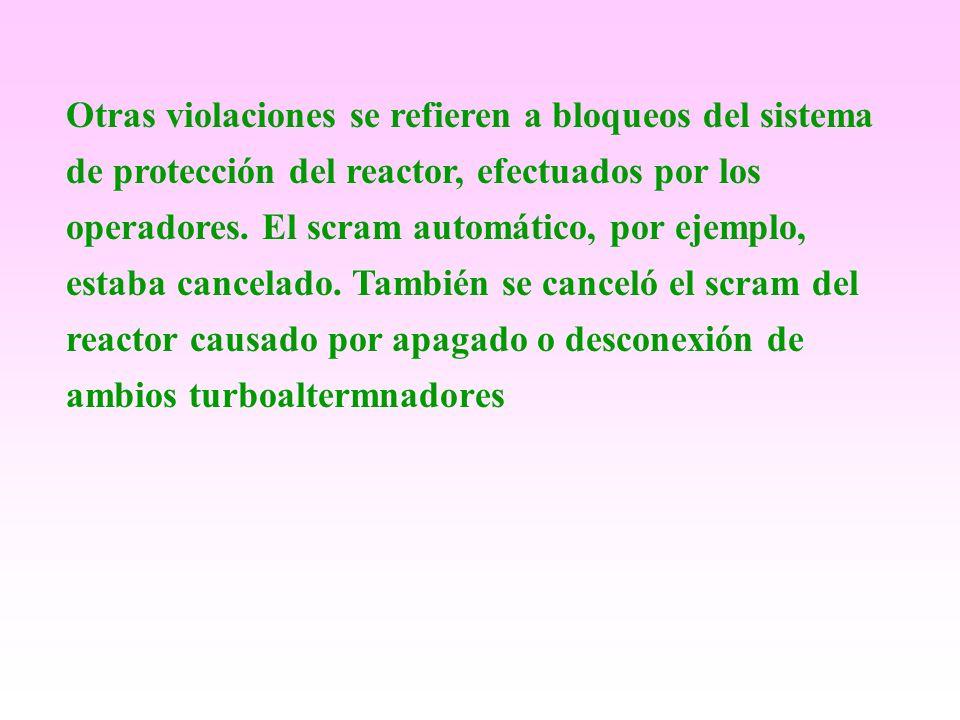 Otras violaciones se refieren a bloqueos del sistema de protección del reactor, efectuados por los operadores.