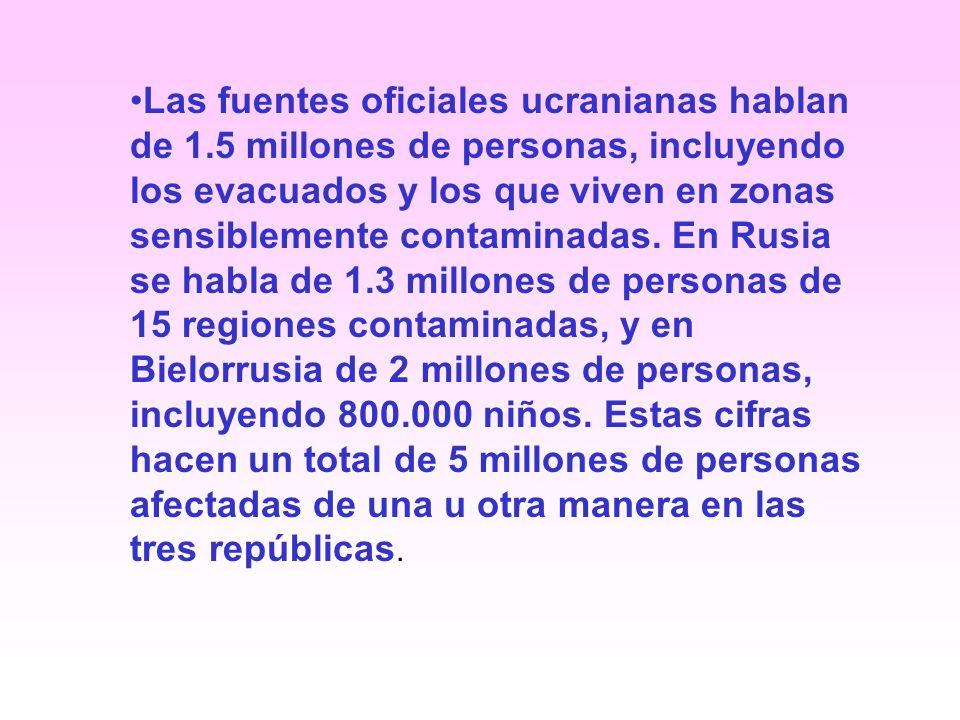 Las fuentes oficiales ucranianas hablan de 1.5 millones de personas, incluyendo los evacuados y los que viven en zonas sensiblemente contaminadas.