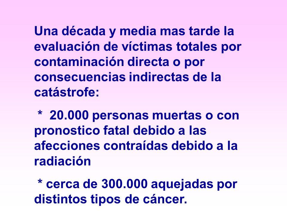 Una década y media mas tarde la evaluación de víctimas totales por contaminación directa o por consecuencias indirectas de la catástrofe: * 20.000 personas muertas o con pronostico fatal debido a las afecciones contraídas debido a la radiación * cerca de 300.000 aquejadas por distintos tipos de cáncer.