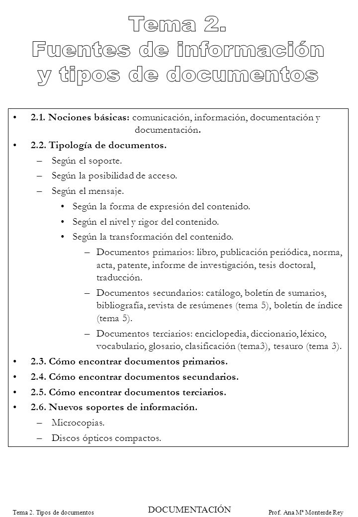 Prof. Ana Mª Monterde ReyTema 2. Tipos de documentos 2.1. Nociones básicas: comunicación, información, documentación y documentación. 2.2. Tipología d