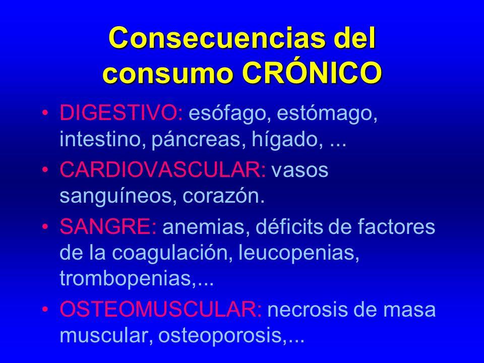 Consecuencias del consumo CRÓNICO DIGESTIVO: esófago, estómago, intestino, páncreas, hígado,... CARDIOVASCULAR: vasos sanguíneos, corazón. SANGRE: ane