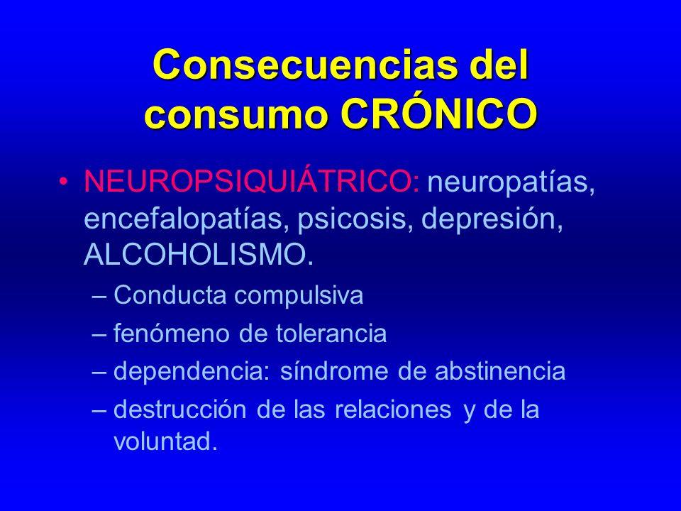 Consecuencias del consumo CRÓNICO NEUROPSIQUIÁTRICO: neuropatías, encefalopatías, psicosis, depresión, ALCOHOLISMO. –Conducta compulsiva –fenómeno de
