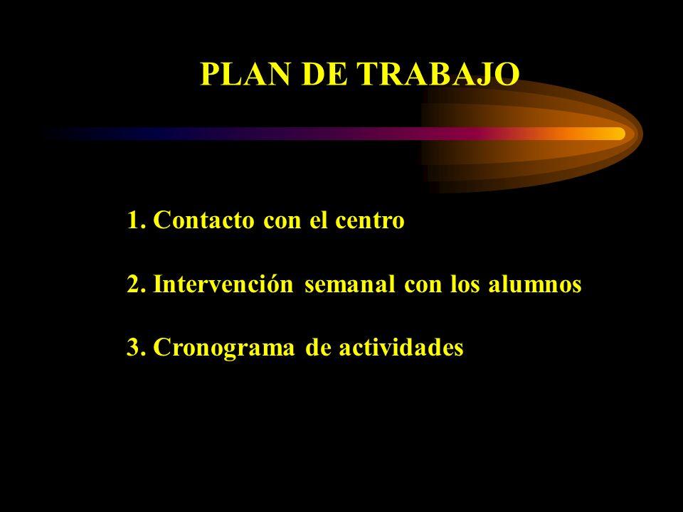 PLAN DE TRABAJO 1. Contacto con el centro 2. Intervención semanal con los alumnos 3. Cronograma de actividades