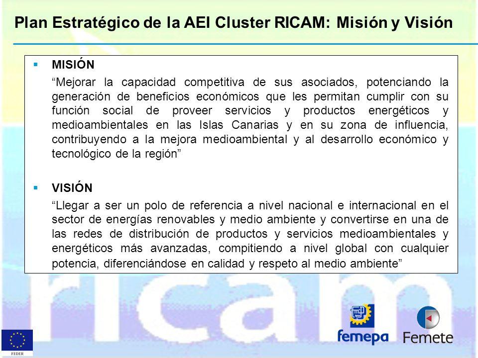 Plan Estratégico de la AEI Cluster RICAM: Misión y Visión MISIÓN Mejorar la capacidad competitiva de sus asociados, potenciando la generación de benef