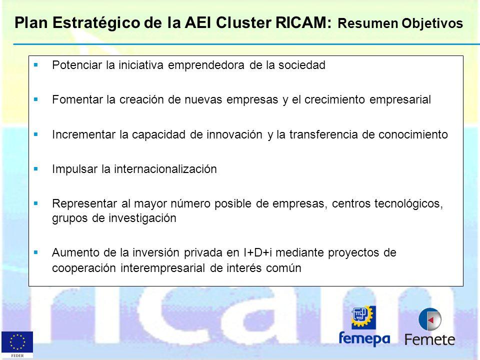 Plan Estratégico de la AEI Cluster RICAM: Resumen Objetivos Potenciar la iniciativa emprendedora de la sociedad Fomentar la creación de nuevas empresa