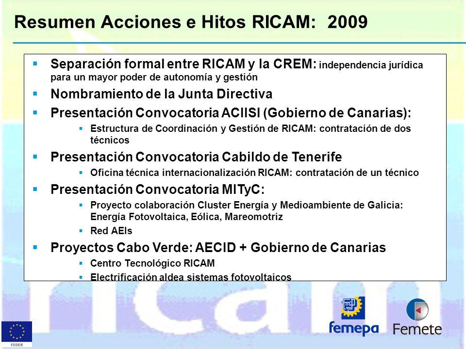 Resumen Acciones e Hitos RICAM: 2009 Separación formal entre RICAM y la CREM: independencia jurídica para un mayor poder de autonomía y gestión Nombra