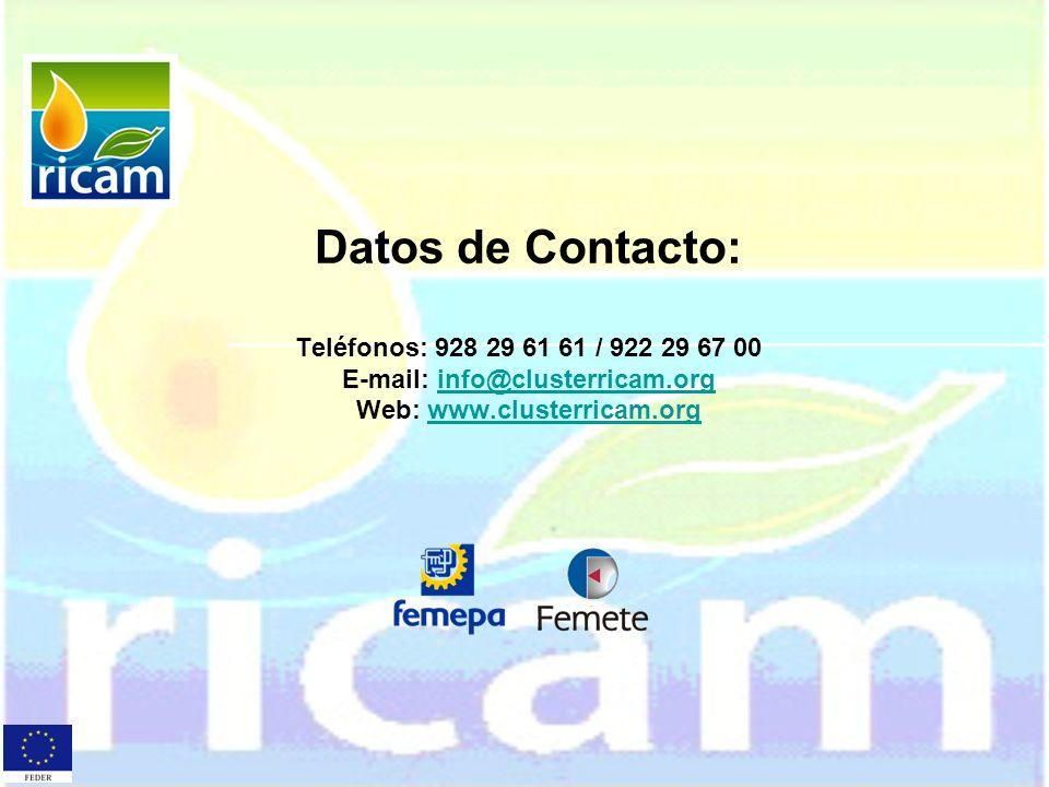 Datos de Contacto: Teléfonos: 928 29 61 61 / 922 29 67 00 E-mail: info@clusterricam.org Web: www.clusterricam.orginfo@clusterricam.orgwww.clusterricam