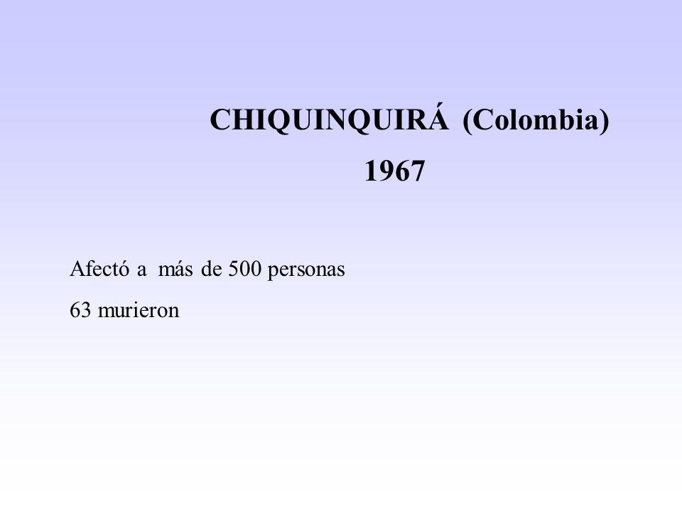 CHIQUINQUIRÁ (Colombia) 1967 Afectó a más de 500 personas 63 murieron