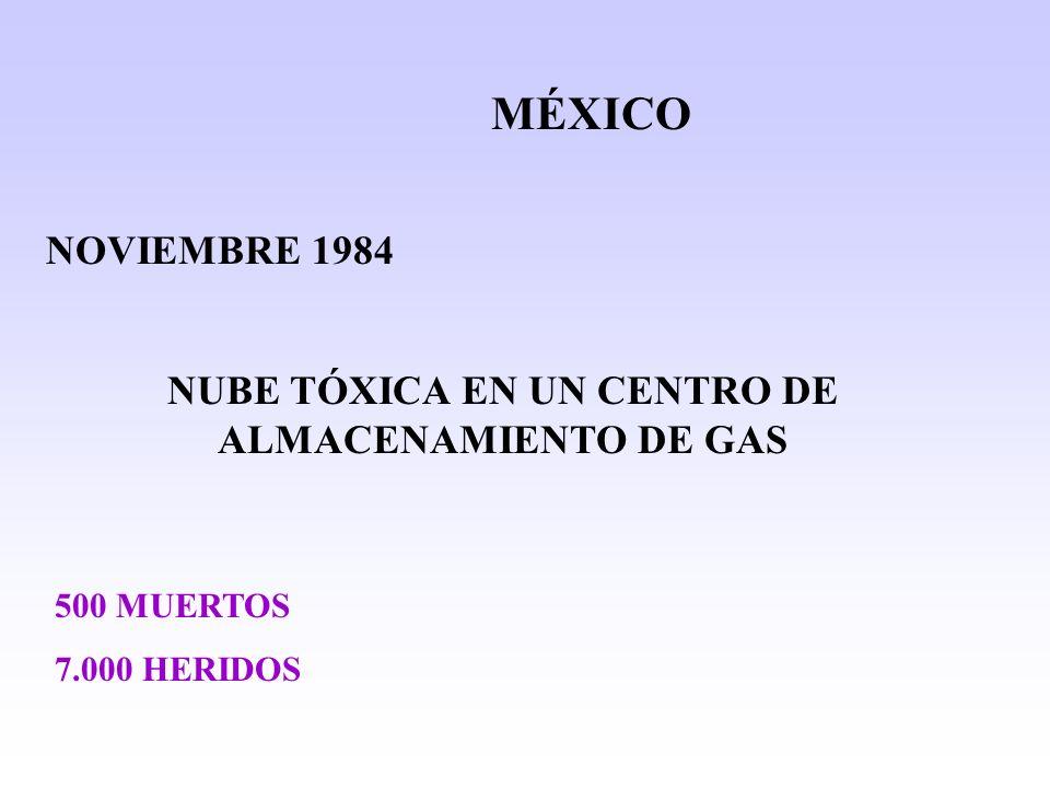 MÉXICO NOVIEMBRE 1984 NUBE TÓXICA EN UN CENTRO DE ALMACENAMIENTO DE GAS 500 MUERTOS 7.000 HERIDOS