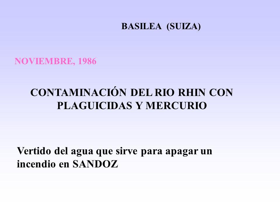 BASILEA (SUIZA) NOVIEMBRE, 1986 CONTAMINACIÓN DEL RIO RHIN CON PLAGUICIDAS Y MERCURIO Vertido del agua que sirve para apagar un incendio en SANDOZ