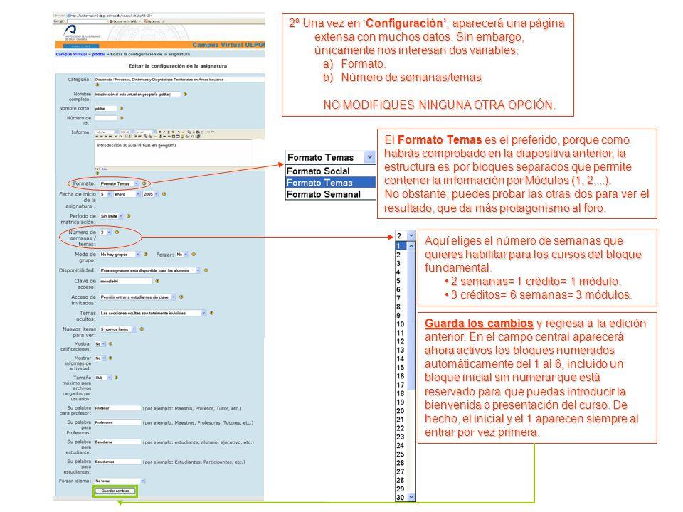 2º Una vez en Configuración, aparecerá una página extensa con muchos datos.