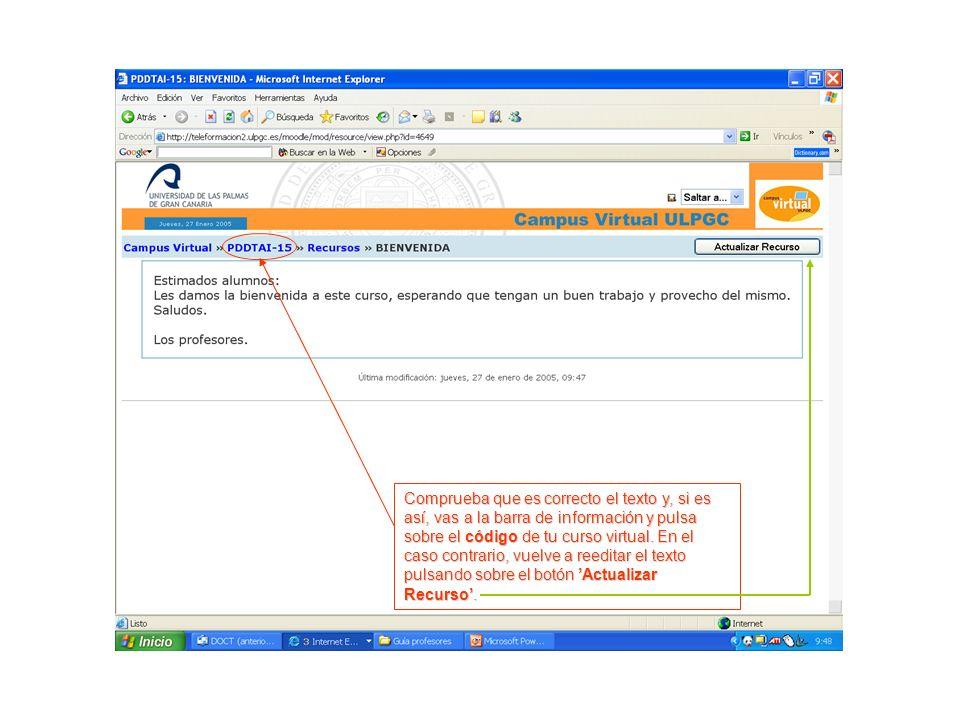 Comprueba que es correcto el texto y, si es así, vas a la barra de información y pulsa sobre el código de tu curso virtual.