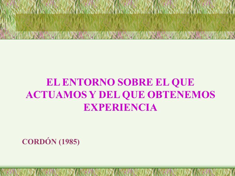 EL ENTORNO SOBRE EL QUE ACTUAMOS Y DEL QUE OBTENEMOS EXPERIENCIA CORDÓN (1985)