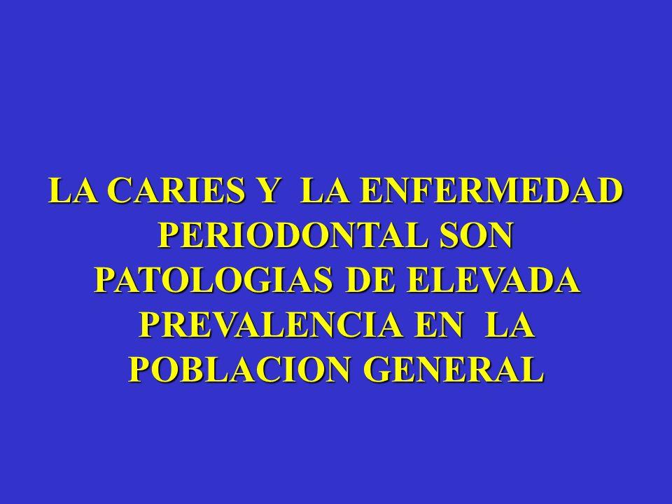 LA CARIES Y LA ENFERMEDAD PERIODONTAL SON PATOLOGIAS DE ELEVADA PREVALENCIA EN LA POBLACION GENERAL