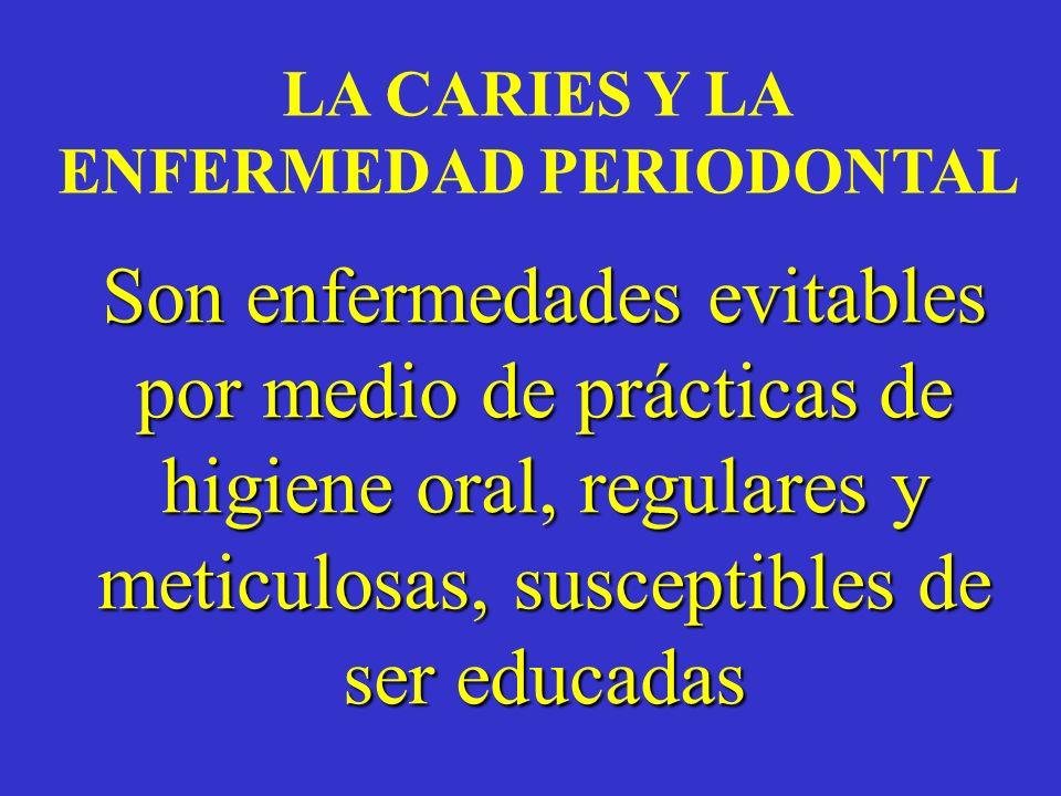 LA CARIES Y LA ENFERMEDAD PERIODONTAL Son enfermedades evitables por medio de prácticas de higiene oral, regulares y meticulosas, susceptibles de ser