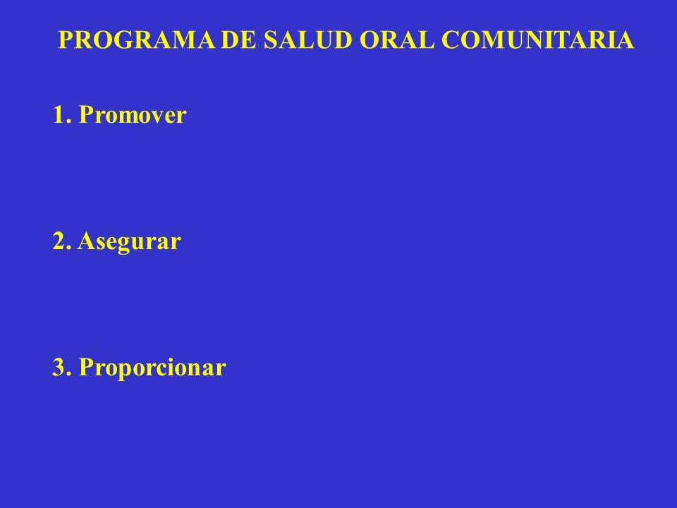 PROGRAMA DE SALUD ORAL COMUNITARIA 1. Promover 2. Asegurar 3. Proporcionar