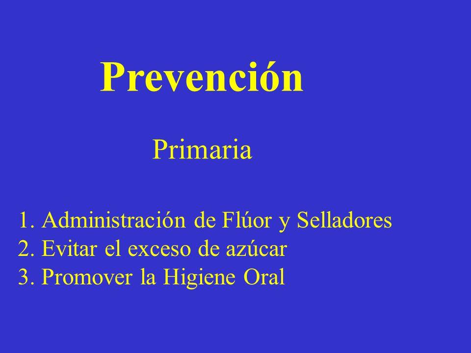 Prevención Primaria 1.Administración de Flúor y Selladores 2.Evitar el exceso de azúcar 3.Promover la Higiene Oral