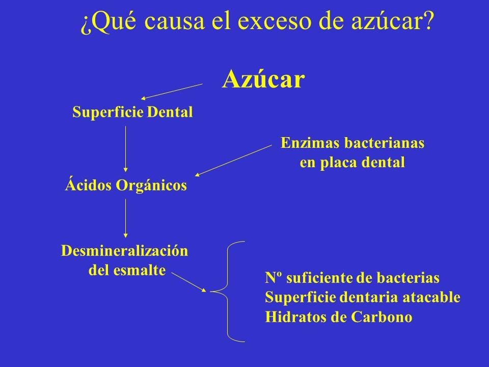 ¿Qué causa el exceso de azúcar? Superficie Dental Ácidos Orgánicos Desmineralización del esmalte Enzimas bacterianas en placa dental Nº suficiente de