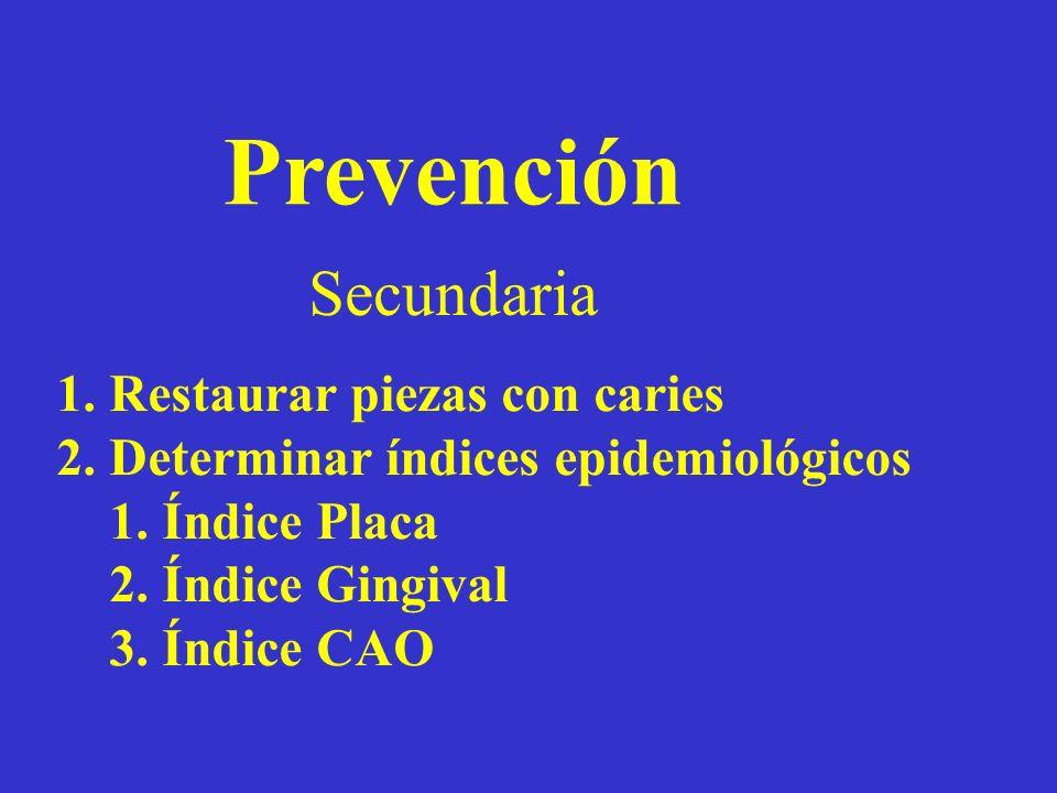 Prevención Secundaria 1.Restaurar piezas con caries 2.Determinar índices epidemiológicos 1.Índice Placa 2.Índice Gingival 3.Índice CAO