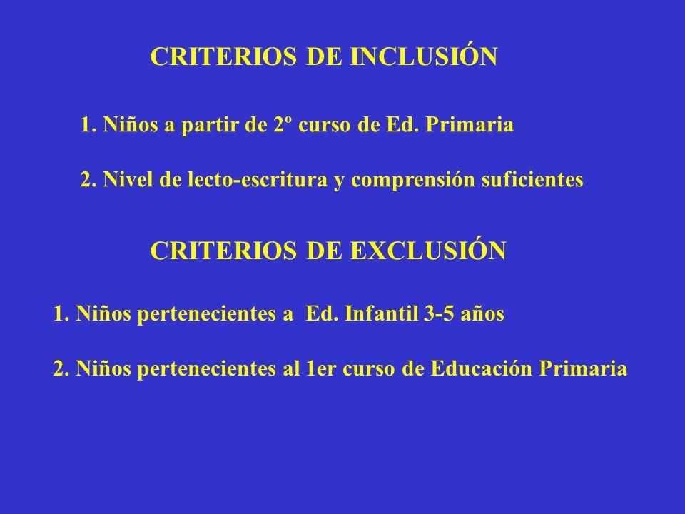 CRITERIOS DE INCLUSIÓN 1. Niños a partir de 2º curso de Ed. Primaria 2. Nivel de lecto-escritura y comprensión suficientes CRITERIOS DE EXCLUSIÓN 1. N