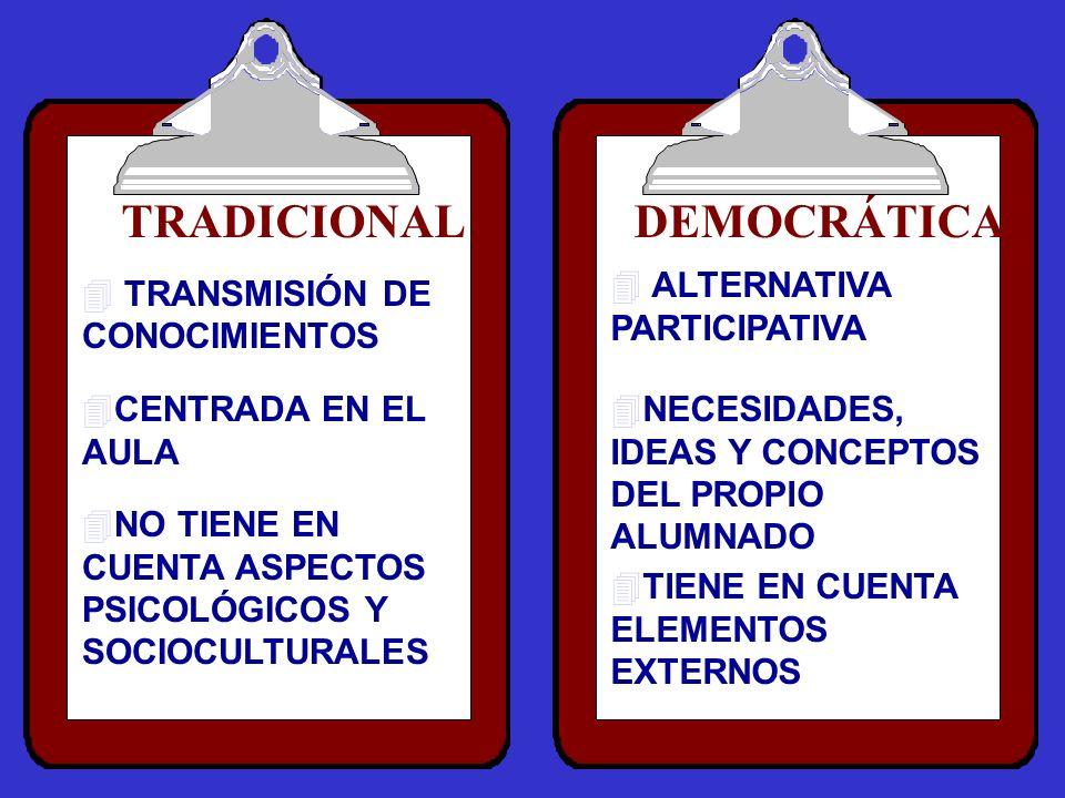 TRADICIONAL 4 TRANSMISIÓN DE CONOCIMIENTOS DEMOCRÁTICA 4CENTRADA EN EL AULA 4NO TIENE EN CUENTA ASPECTOS PSICOLÓGICOS Y SOCIOCULTURALES 4NECESIDADES,