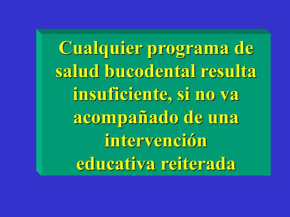 Cualquier programa de salud bucodental resulta insuficiente, si no va acompañado de una intervención educativa reiterada