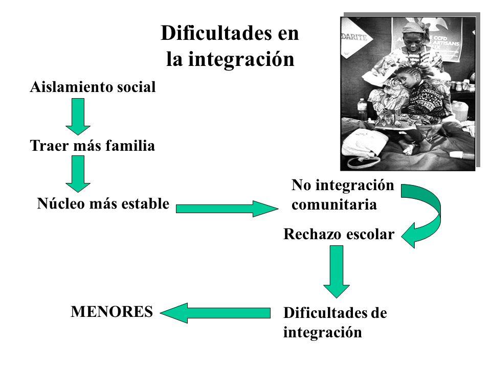 Familias emigrantes Grupos cerrados Estilos de vida diferentes Creencias incompatibles Dificultades en la integración